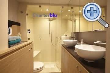 Toilet view of Catana Bali 4.3 catamaran charter in Ibiza and Formentera