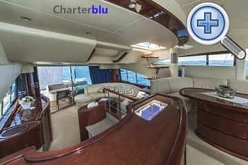 Front lounge view of Fairline Squadron 58 charter yacht in Ibiza and Formentera