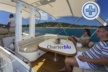 Flybridge view of Fairline Squadron 58 charter yacht in Ibiza and Formentera