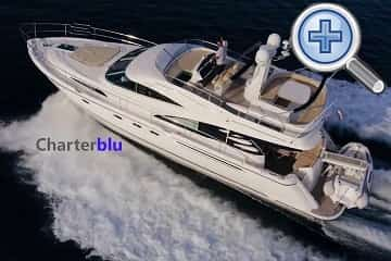 General view of Fairline Squadron 58 rental yacht in Ibiza and Formentera