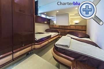 Double room view of Fairline Squadron 58 rental yacht in Ibiza and Formentera