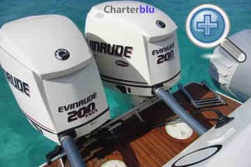 Powerful engines view of Sacs S33 RIB fastboat charter in Ibiza and Formentera