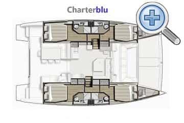 Vista del plano del catamarán Catana Bali 4.3 de alquiler en aguas de Ibiza y Formentera