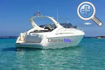 Back view of Cranchi Endurance 39 charter yacht in Ibiza and Formentera